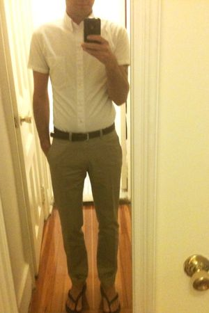 beige H&M pants - white American Apparel shirt - brown banana republic belt - br