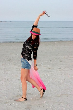 blue Zara shorts - Polo Garage hat - black Zara blouse - bubble gum H&amp;M top