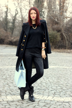 black Zara boots - black Marks &amp; Spencer coat - black Zara sweater