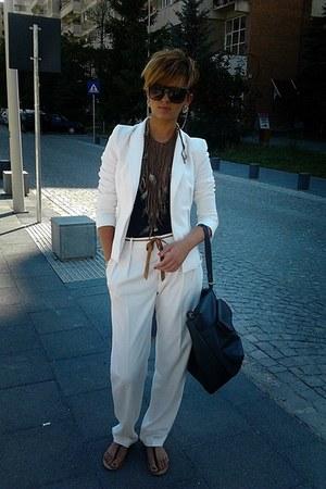 white Zara jacket - black Bershka bag - black Bershka top