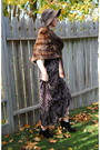 Brown-vintage-coat-purple-vintage-dress-black-aldo-boots-brown-hat