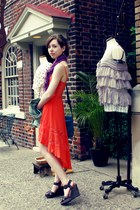 orange lace dress - purple knit scarf - relic bag