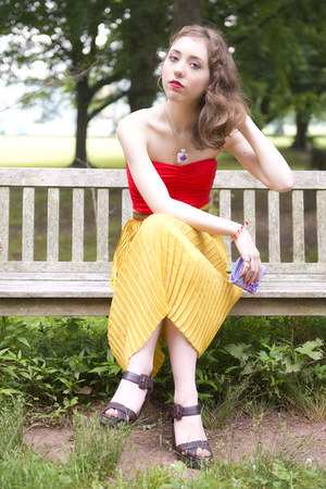 red swimwear - mustard skirt