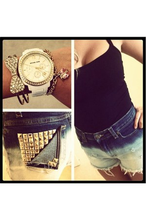 violet DIY shorts - gold Michael Kors watch - hot pink Juicy Couture bracelet