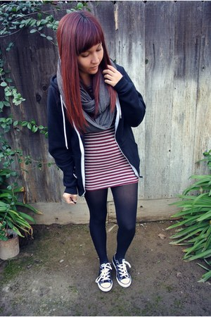 Forever 21 dress - Converse shoes - Forever 21 scarf - American Apparel hoodie