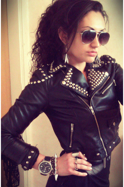 black H&amp;M jacket - silver GINA TRICOT bracelet - H&amp;M glasses