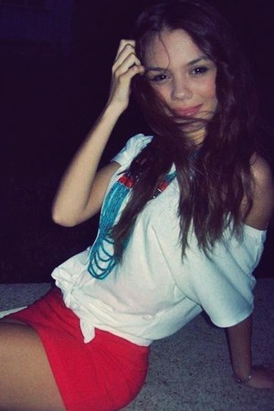 sky blue necklace - red skirt - white t-shirt