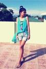Denim-shorts-cyan-blue-sheer-top-pearls-neon-bracelet-nude-flats