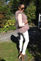 light purple feather Miss Selfridge vest - brown suede boots - ivory H&M pants