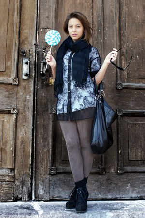 black lace H&M blouse - black KORS wedges