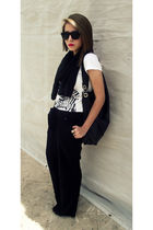 black Forever 21 pants - black BCBG bag - white Rue 21 shirt