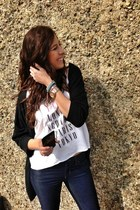 pink metal Fossil watch - jeans banana republic jeans - tshirt H&M blouse