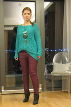 maroon Zara pants - black Givenchy boots - turquoise blue Only sweater