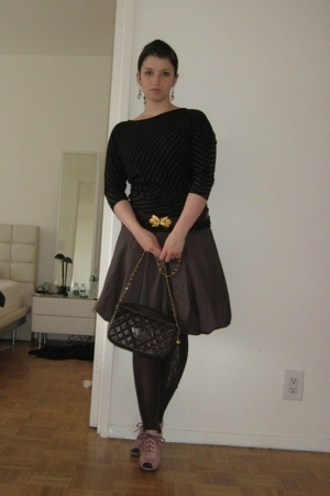 Armani Exchange t-shirt - skirt - stockings - - Chanel purse -