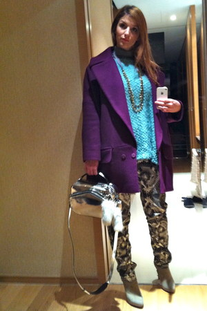 heather gray studded sam edelman shoes - purple Diane Von Furstenberg coat