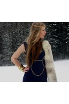 navy asos dress - beige vintage fur accessories - Asos harness accessories