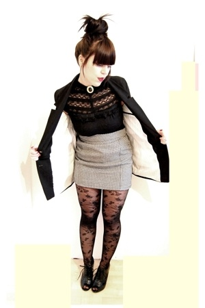 divided black blazer - Stradivarius shirt - flea market skirt - H&M tights - sho
