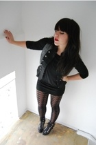 H&M dress - BLANCO vest - Calzzedonia tights - Guess boots