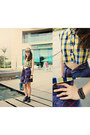 Black-boots-navy-hat-yellow-tartan-cropped-shirt-deep-purple-tartan-shirt