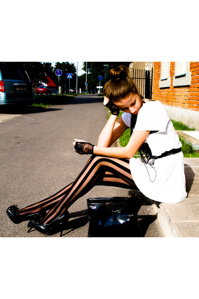 black Cara shoes - white GINA TRICOT shirt - black lindex tights