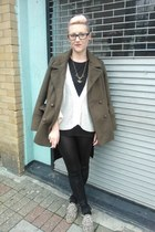 army green Primark coat - camel Ebay shoes - black new look leggings