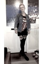 black Primark tights - black Ebay shoes - studded thrifted vintage jacket