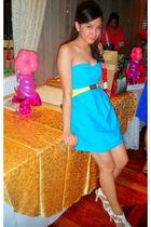 blue Mango PH dress - gold Mango PH belt - white vintage from my tita shoes