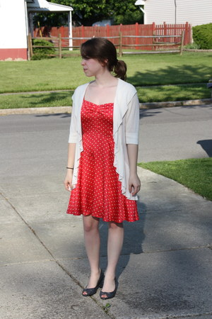 red polka dots Urban Outfitters dress - ivory Express cardigan