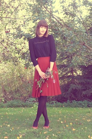 black H&M high neck blouse - brick red thrifted skirt - bronze vagabond heels