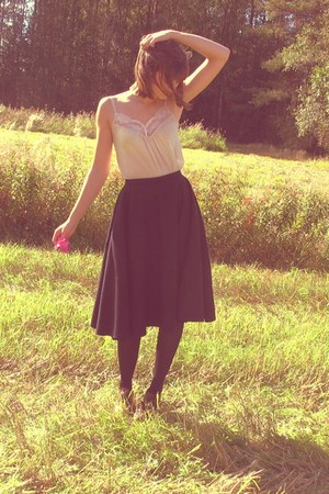 black DIY wool skirt - light pink custommade top