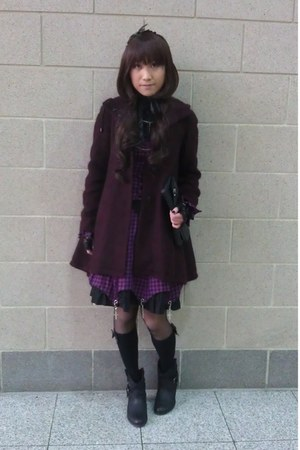 black Rocket Dog boots - crimson Topshop coat - black Topshop bag