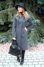Charcoal-gray-max-mara-coat-black-giorgio-armani-hat-maroon-uniqlo-sweater