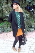 camel Zara boots - black Zara coat - black Zara hat - black YSL bag
