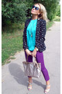Black-zara-blazer-silver-lanven-bag-turquoise-blue-louis-vuitton-sunglasses