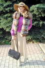 Camel-accessorize-hat-black-chanel-bag-light-brown-faux-fur-fendi-vest