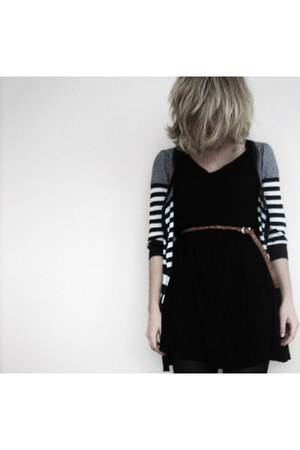 black Monki dress - burnt orange beaded vintage belt - navy striped Topshop card