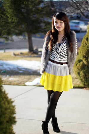 gianni bini skirt - sam edelman boots - Nordstrom sweater - Nordstrom vest