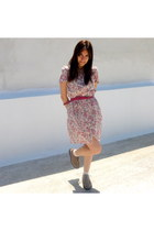 pink floral Mango dress - tan oxfords Dr Martens shoes