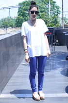 blue H&M pants - white Mango shirt - white wedge sandals H&M wedges