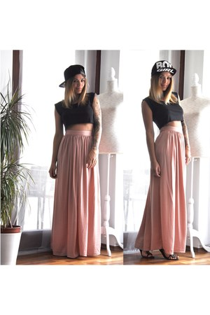 black Ebay hat - black Bershka top - peach Bershka skirt - black Zara sandals