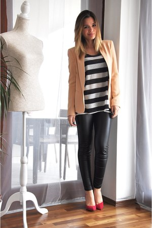 peach H&M blazer - white stripes H&M top - black Zara pants
