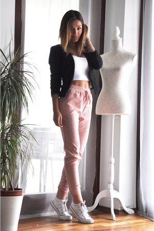 peach Bershka pants - white Converse shoes - black H&M blazer