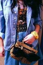 white t-shirt - gold Forever 21 bracelet - I made it skirt - shirt - DIY purse -