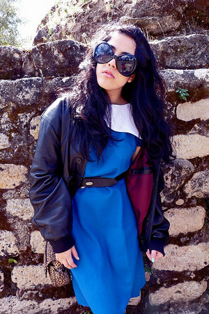 black vintage leather jacket - blue vintage collar dress - black Zara loafers