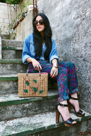 teal flower printed Ana Gonzlez pants - blue denim shirt vintage shirt