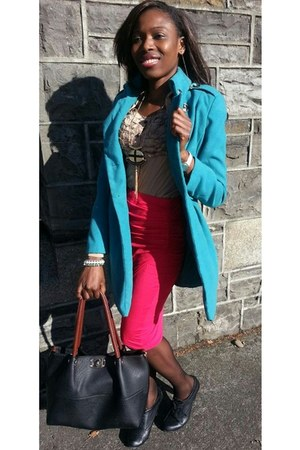 turquoise blue very nice coat next coat - black New Looke boots - tan next shirt