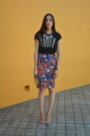 pull&bear skirt - navy cotton cotton on shirt - nude Zara heels