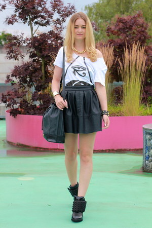 asos skirt - Maison Mollerus bag - Jeffrey Campbell wedges - Mathis t-shirt