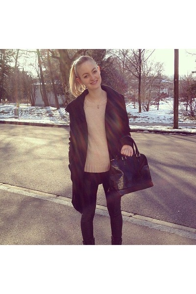black Primark shoes - black Mango jacket - Zara sweater - black Carpisa bag