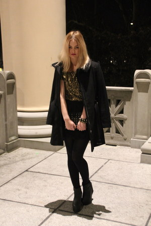 black black H&amp;M shoes - black black Mango coat - yellow gold H&amp;M shirt